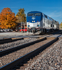 AMTRAK train during Autumn