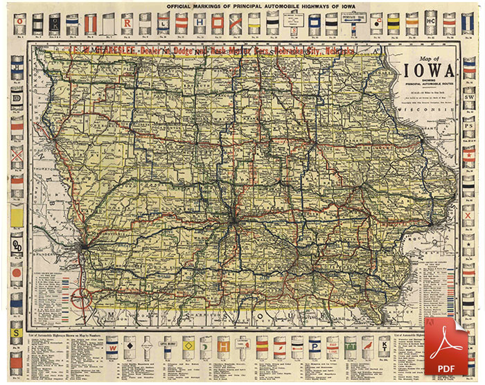 Official Markings of Principal Automobile Highways of Iowa - 1919