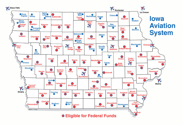 Iowa map showing airports eligible for Federal Funds