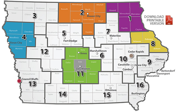 Iowa mobility manager region map