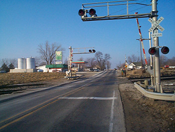 Uncontrolled Railroad Crossing Traffic control at hig...