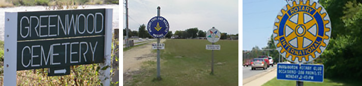 Examples of church and service club signs