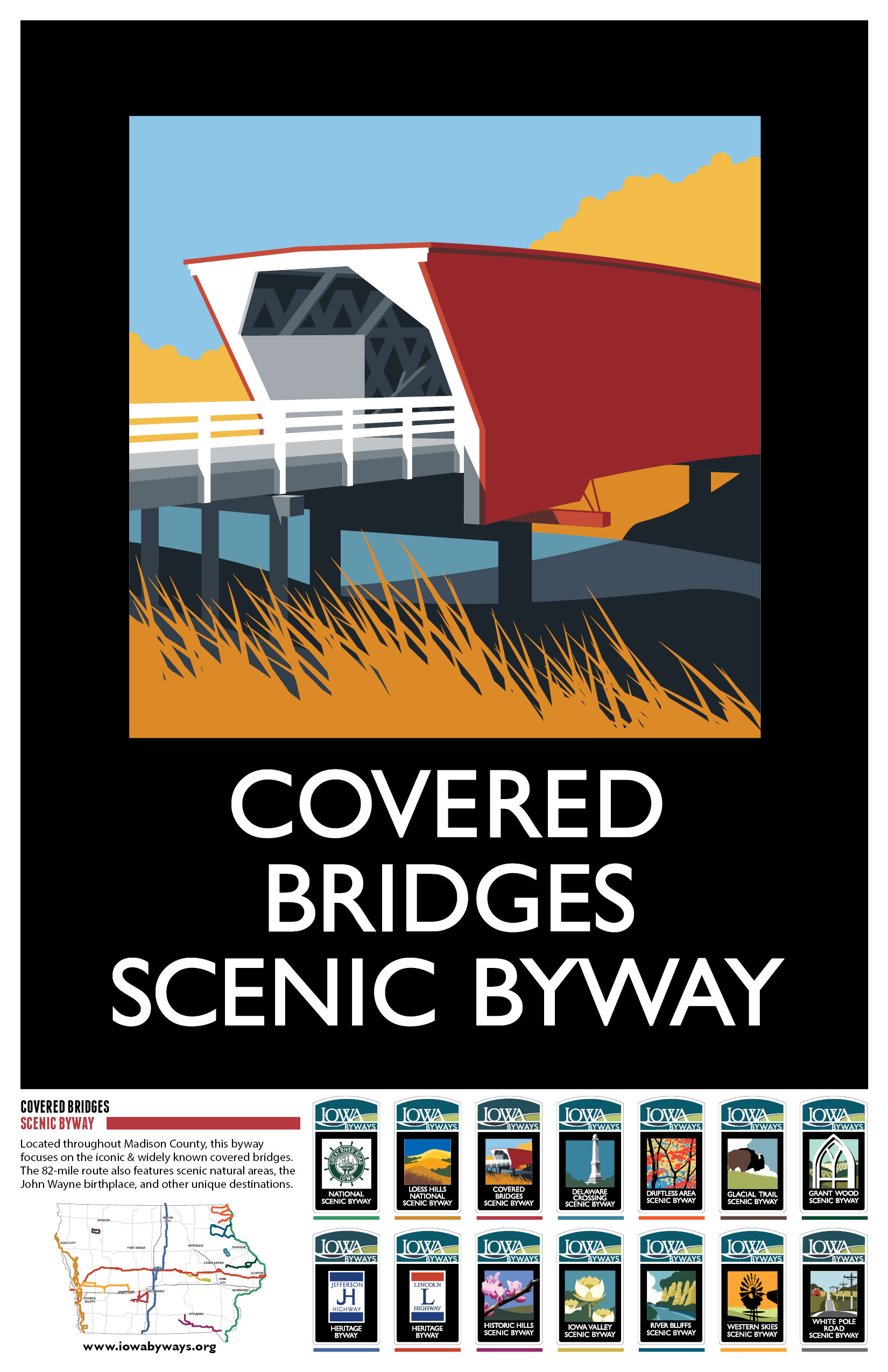 Covered Bridges Iowa Byways Poster
