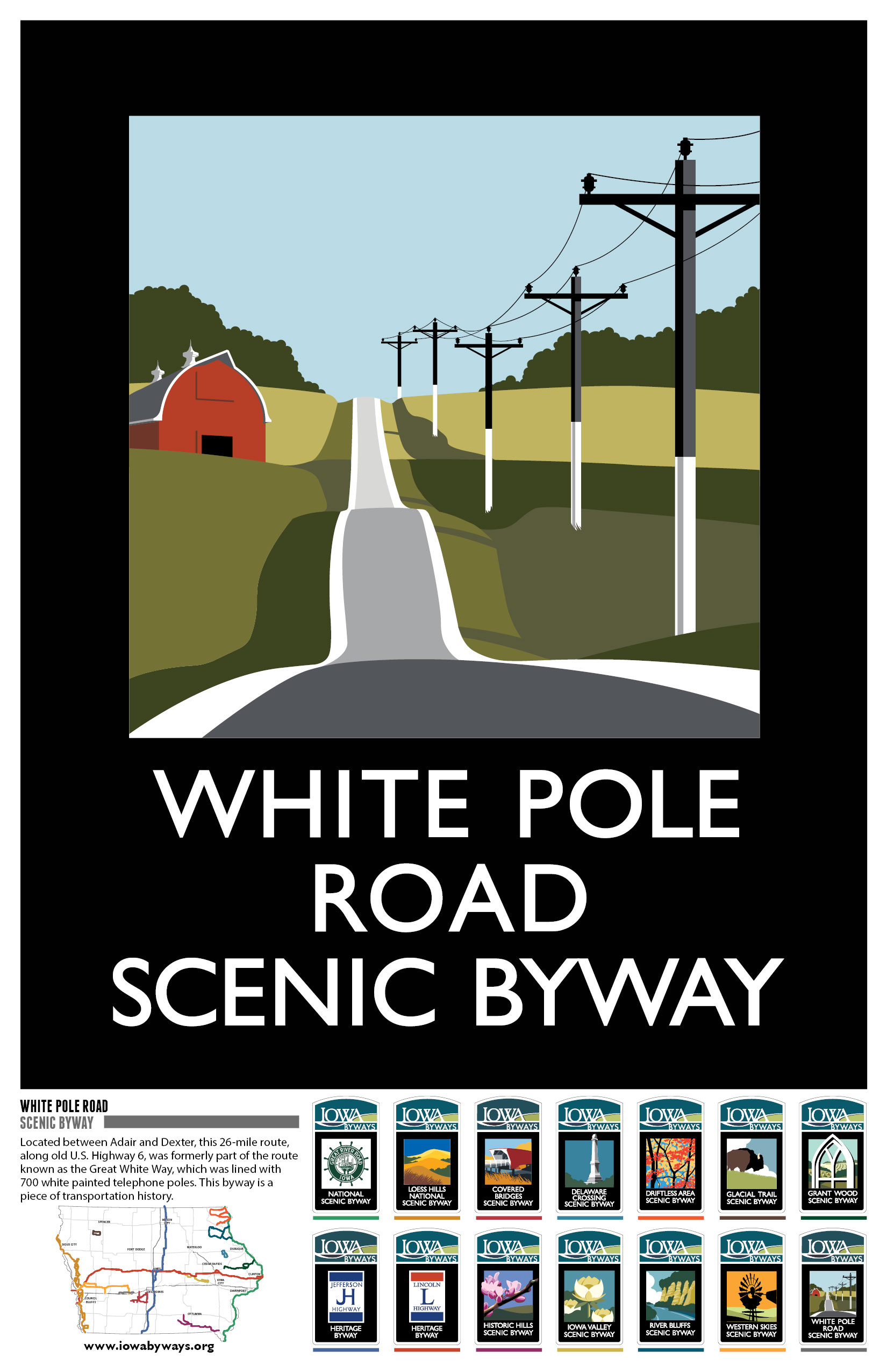 White Pole Road  Iowa Byways Poster
