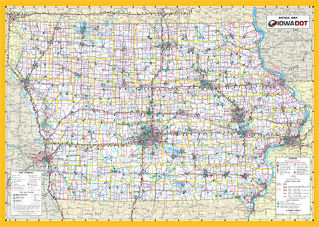 maps > Digital maps > State maps > Iowa Bicycle Map Detailed Map Of Iowa on