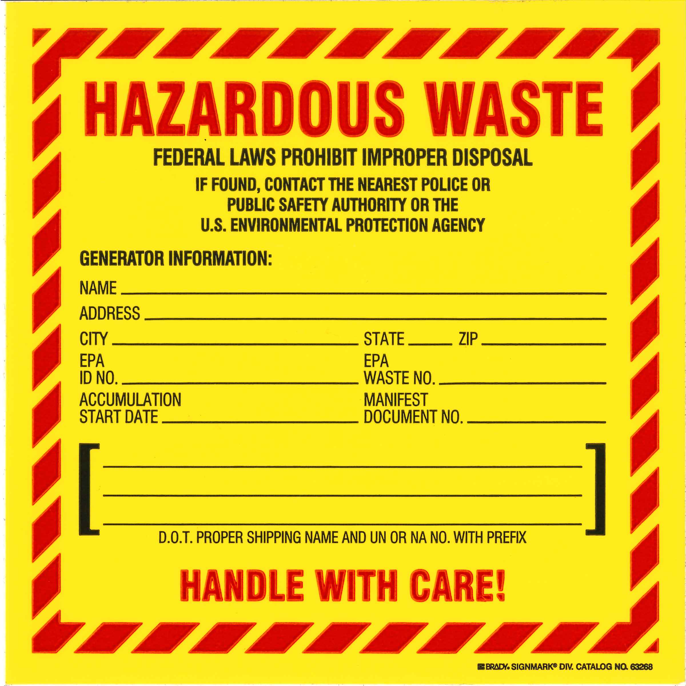 Hazardous Waste Shipping Label