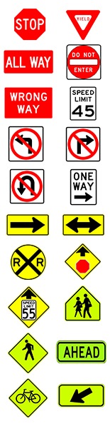 Variation of road signs